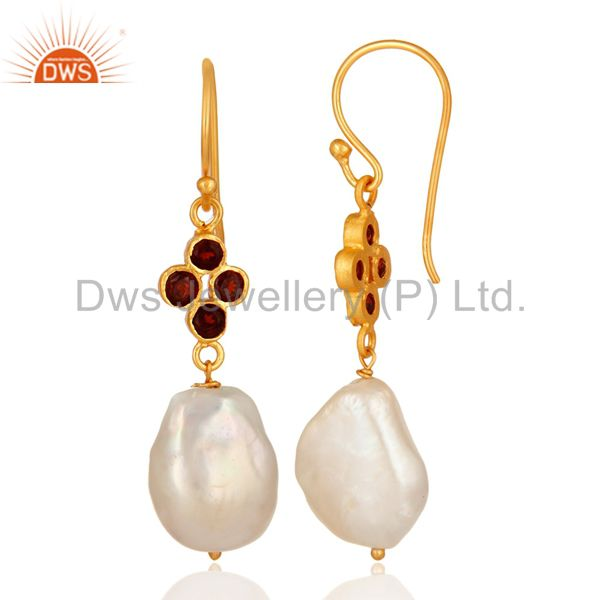 Suppliers Natural Pearl And Garnet Gemstone Dangle Earrings In 18K Gold On Sterling Silver