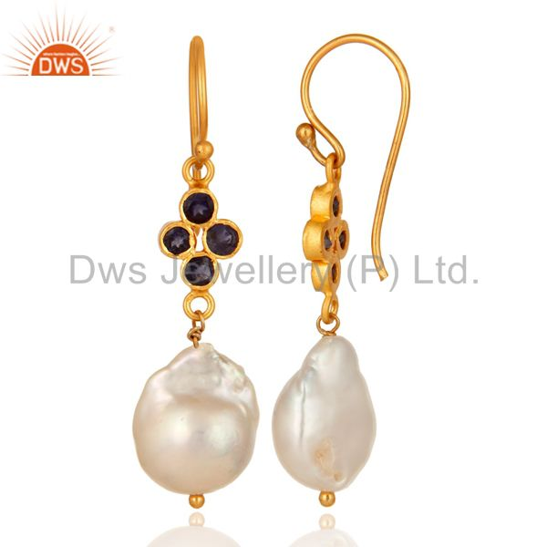Suppliers Gold Plated Sterling Silver Natural Iolite And Pearl Gemstone Hook Earrings