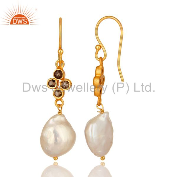 Suppliers Natural Smoky Quartz And Pearl Dangle Earrings Made In 18K Gold Over Silver