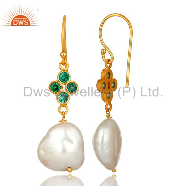Suppliers 18K Yellow Gold Plated Sterling Silver Green CZ And Natural Pearl Dangle Earring