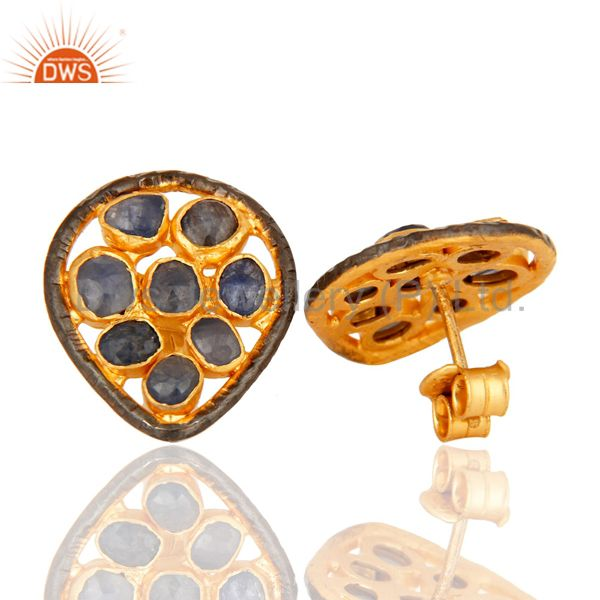 Suppliers Handmade Sterling Silver Natural Blue Sapphire Stud Earrings - Gold Plated