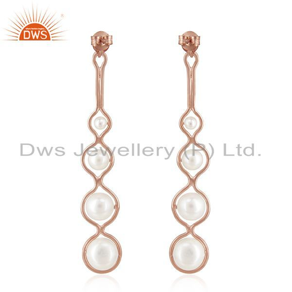 Suppliers Rose Gold Plated 925 Silver Natural Pearl Dangle Earrings Wholesale Suppliers