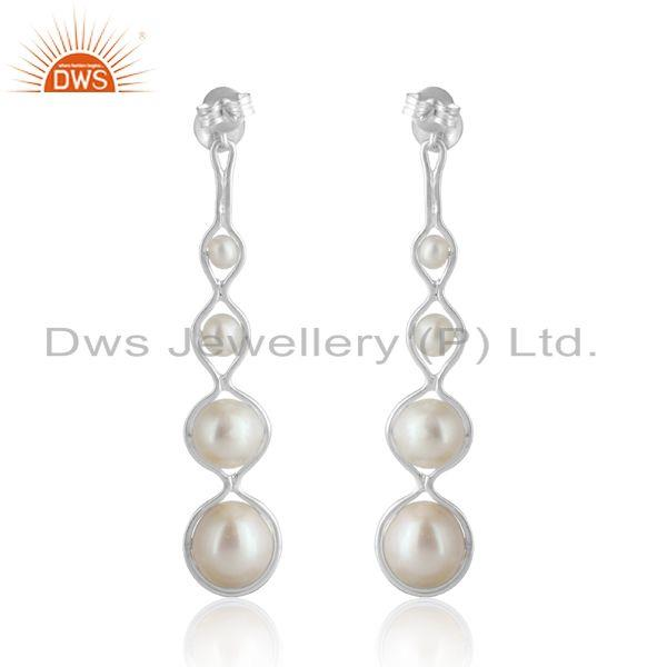 Designer of 925 silver natural pearl long dangle earrings wholesale suppliers