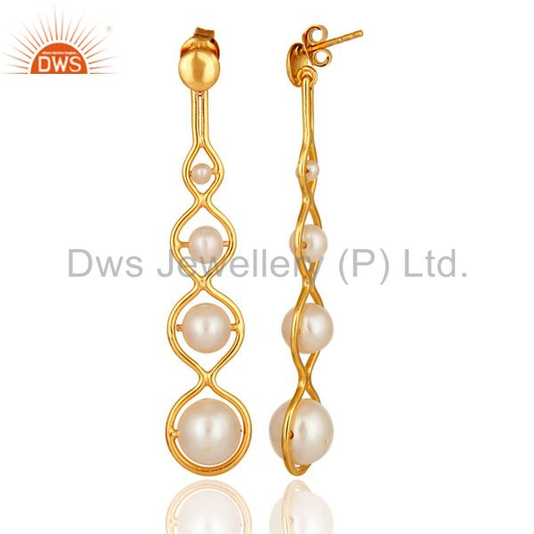 Designer 18K Yellow Gold Plated Silver Pearl Dangle Earrings Supplier Jaipur