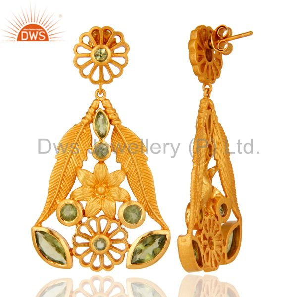 Suppliers 925 Sterling Silver Peridot Gemstone Leaf Design Dangle Earrings - Gold Plated