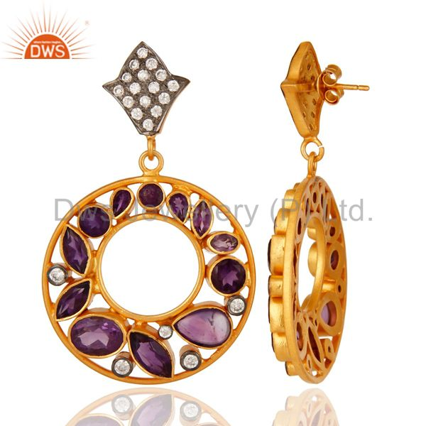 Suppliers Natural Amethyst Gemstone 925 Sterling Silver Handmade Earrings - Gold Plated