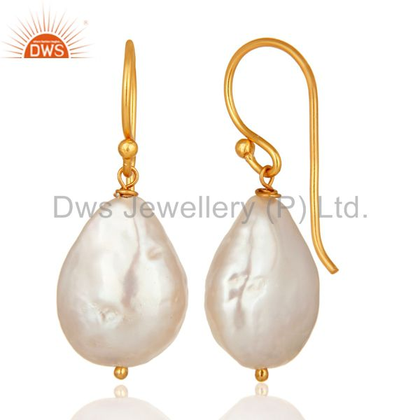 Suppliers Natural white Pearl Sterling silver Wire Wrapped Dangle Earrings - Gold Plated