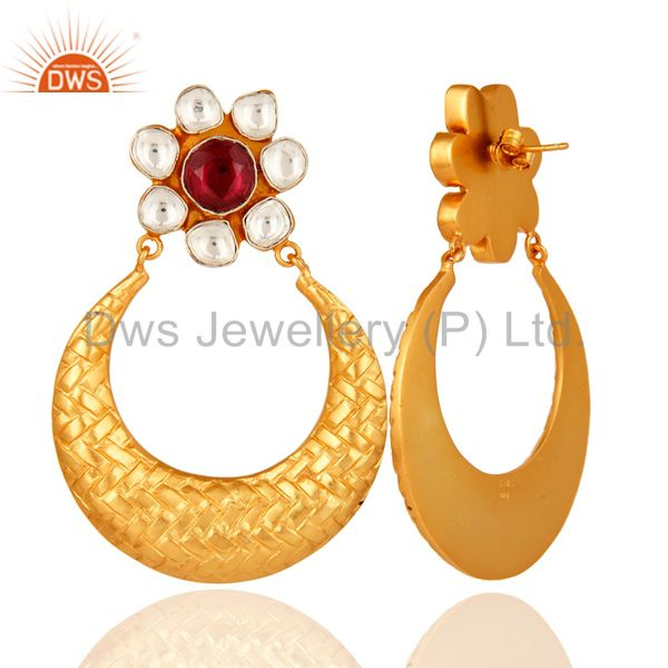 Suppliers Rhodolite Garnet Sterling Silver Gemstone Unique Design Earrings - Gold Plated