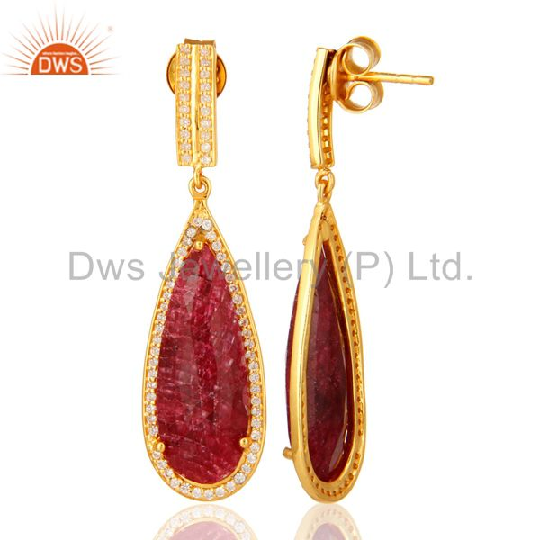 Suppliers 14K Gold Over Sterling Silver Dyed Ruby Red Corundum & White Topaz Drop Earrings