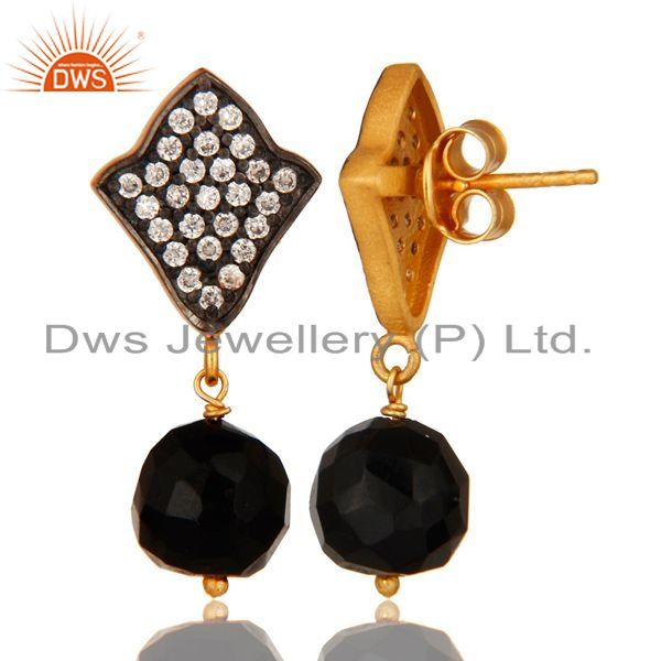 Suppliers 18K Yellow Gold Plated Sterling Silver Black Onyx & CZ Gemstone Dangle Earrings