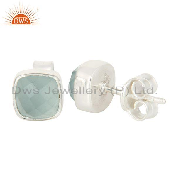 Suppliers 925 Sterling Silver Aqua Glass Cushion Cut Womens Fashion Stud Earrings