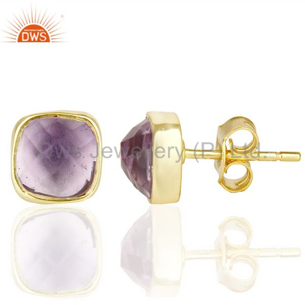 Suppliers Natural Amethyst Cushion Rose Cut Small 14 K gold Plated Stud Earring