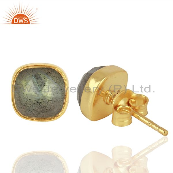 Suppliers Natural Labradorite Gemstone Stud Earrings In 18K Gold Over Sterling Silver