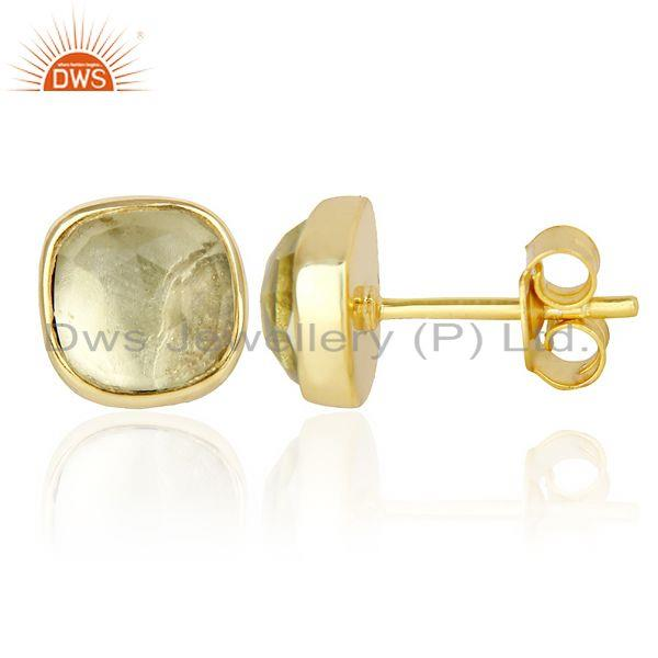 Suppliers Lemon Topaz Cushion Rose Cut Small 14 K gold Plated Stud Earring