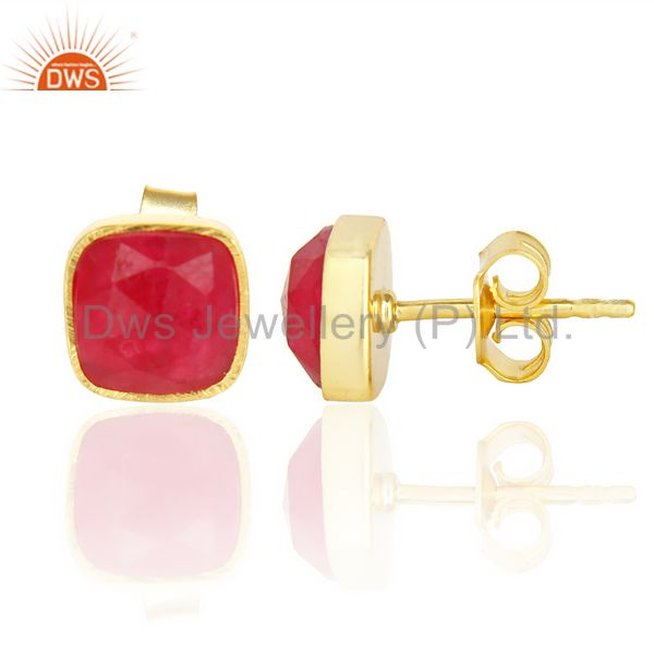 Suppliers Natural Deep Red Aventurine Cushion Rose Cut Small 14 K gold Plated Stud Earring