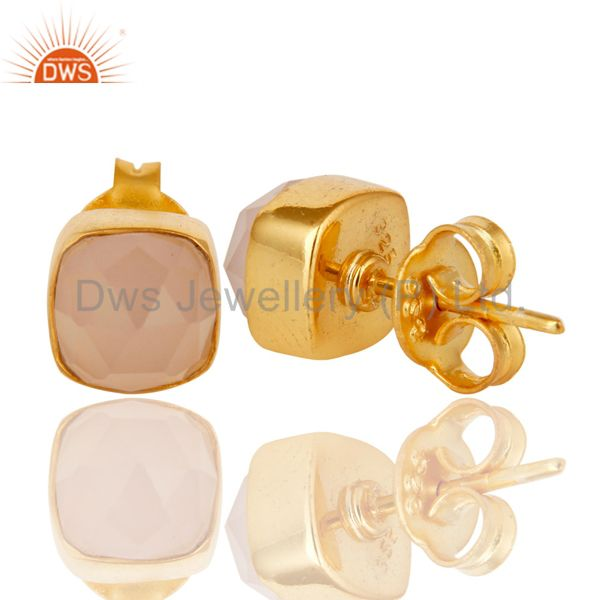 Suppliers 14K Yellow Gold Plated Sterling Silver Rose Chalcedony Womens Stud Earrings