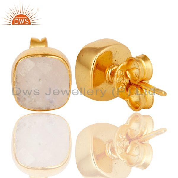 Suppliers 14K Yellow Gold Plated Sterling Silver Rainbow Moonstone Womens Stud Earrings