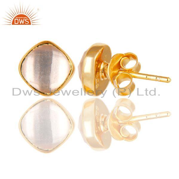 Suppliers 14K Yellow Gold Plated 925 Sterling Silver Rose Quartz Womens Stud Earrings