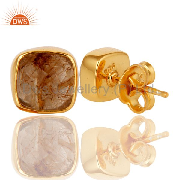 Suppliers 14K Yellow Gold Plated Sterling Silver Rutilated Quartz Womens Stud Earrings