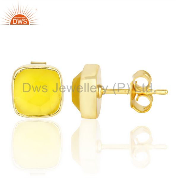Suppliers Yellow Chalcedony Cushion Rose Cut Small 14 K gold Plated Stud Earring