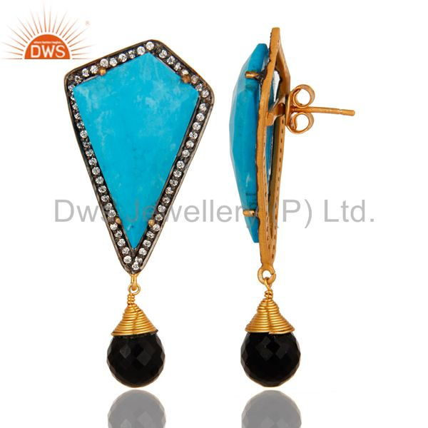 Suppliers 18K Gold Over Sterling Silver Turquoise And Black Onyx Post Stud Dangle Earrings