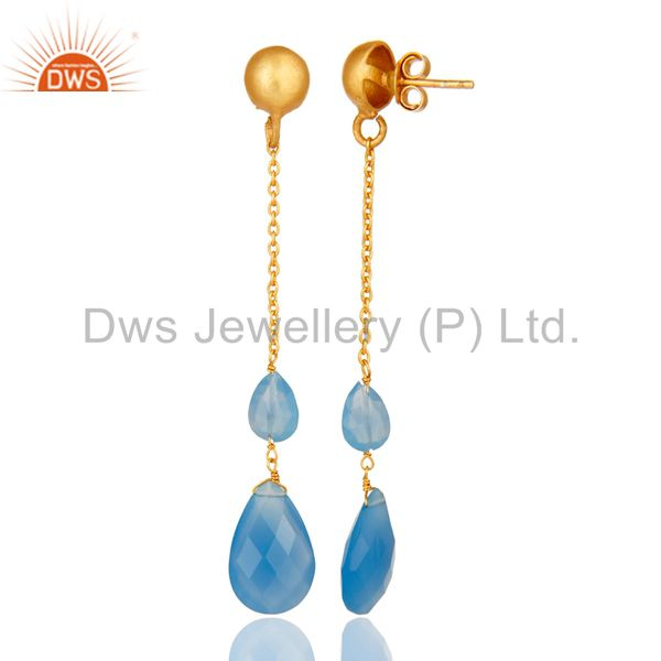 Suppliers 22K Yellow Gold Plated Sterling Silver Blue Chalcedony Chain Dangle Earrings