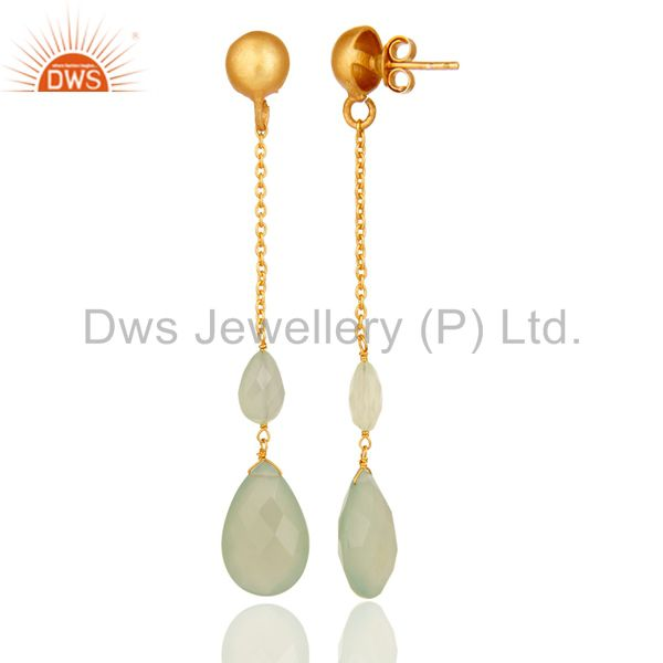 Suppliers 22K Yellow Gold Plated Sterling Silver Green Chalcedony Chain Dangle Earrings