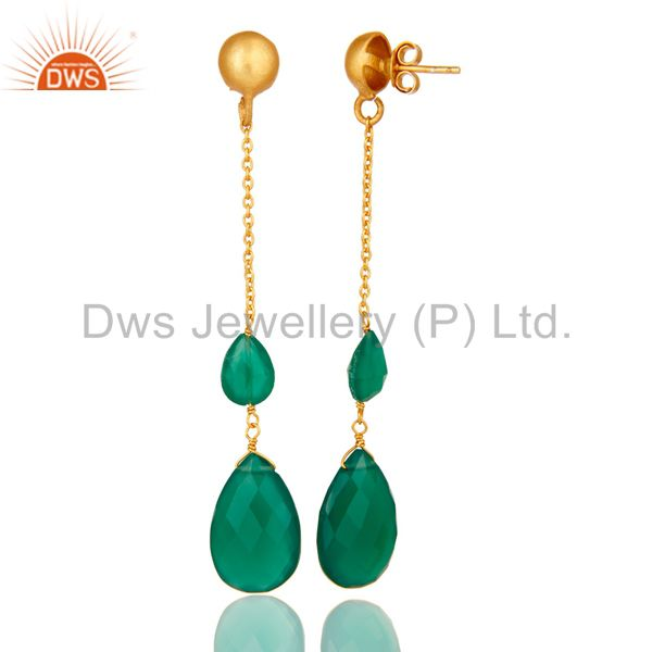 Suppliers 22K Yellow Gold Plated Sterling Silver Green Onyx Briolette Chain Drop Earrings