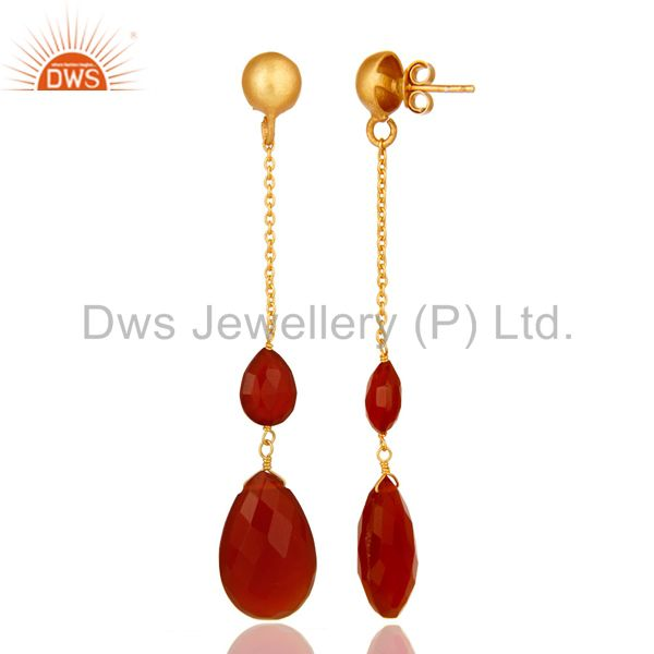 Suppliers 22K Yellow Gold Plated Sterling Silver Red Onyx Briolette Chain Drop Earrings