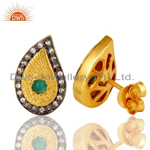 Suppliers 14K Yellow Gold Plated Sterling Silver Green Onyx And CZ Teardrop Stud Earrings