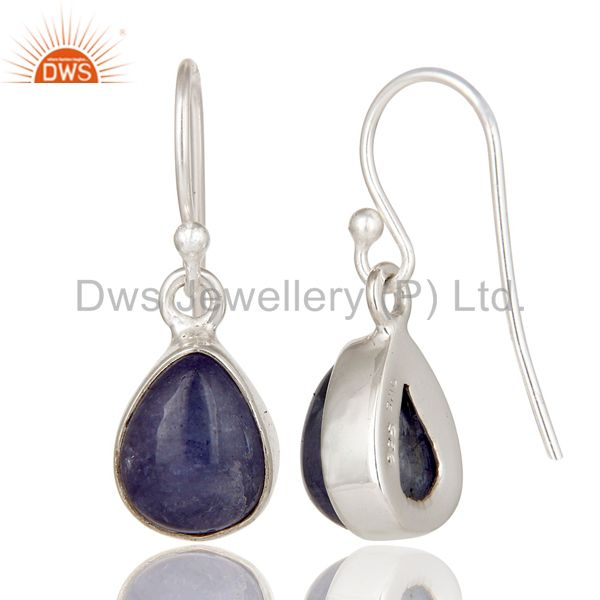 Suppliers 925 Sterling Silver Tanzanite Gemstone Bezel Setting Teardrop Earrings