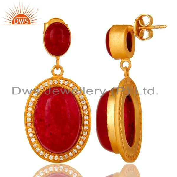 Suppliers 14K Yellow Gold Plated Sterling Silver Red Aventurine Dangle Earrings With CZ