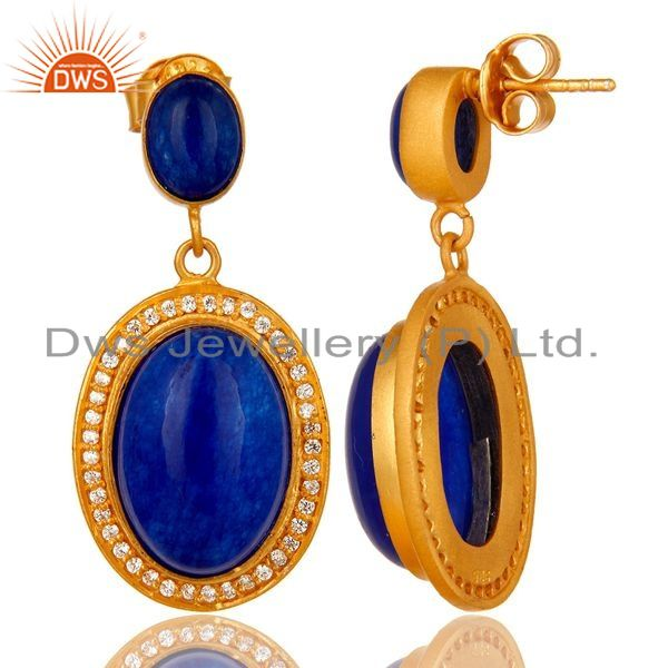 Suppliers 14K Yellow Gold Plated Sterling Silver Blue Aventurine Dangle Earrings With CZ