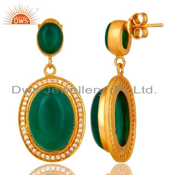 Suppliers 18K Yellow Gold Plated Sterling Silver Green Aventurine Dangle Earrings With CZ