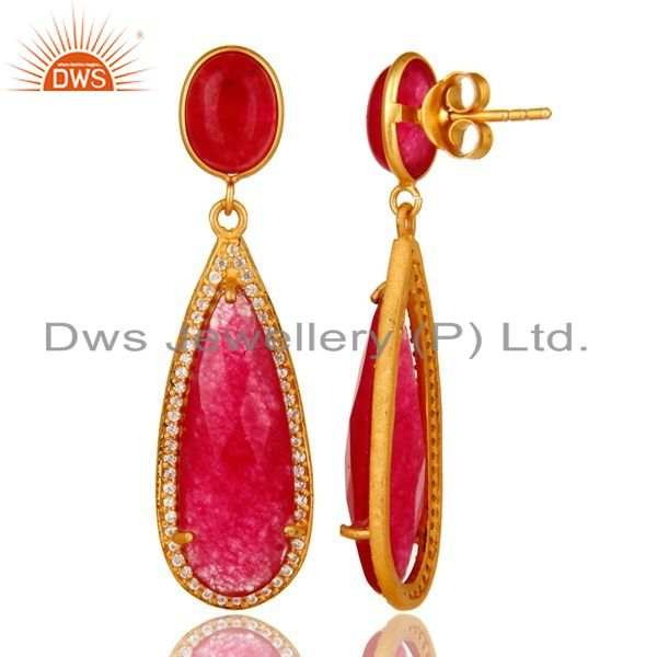 Suppliers 18K Yellow Gold Plated Sterling Silver Red Aventurine Drop Earrings With CZ