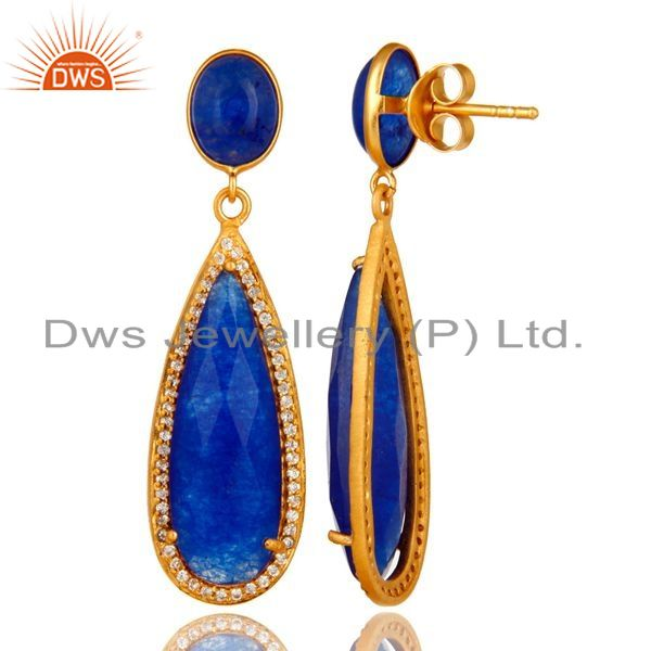 Suppliers 18K Yellow Gold Plated Sterling Silver Blue Aventurine Drop Earrings With CZ