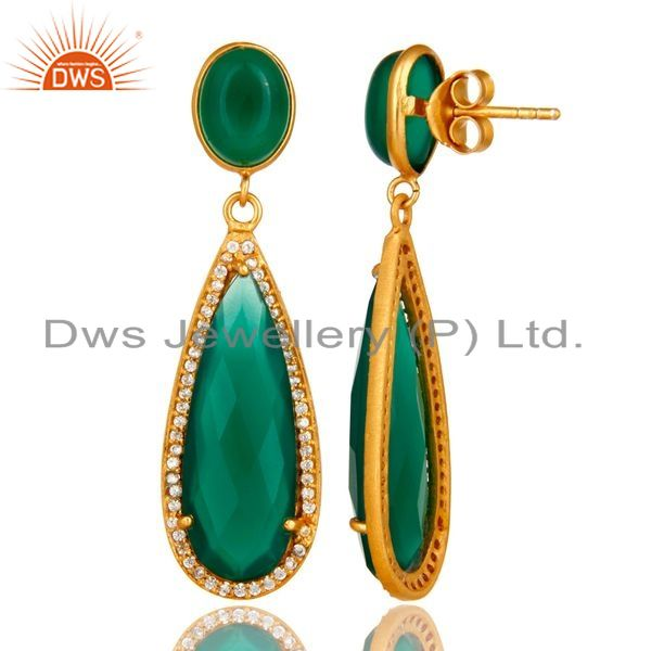 Suppliers 18K Yellow Gold Plated Sterling Silver Green Aventurine Drop Earrings With CZ
