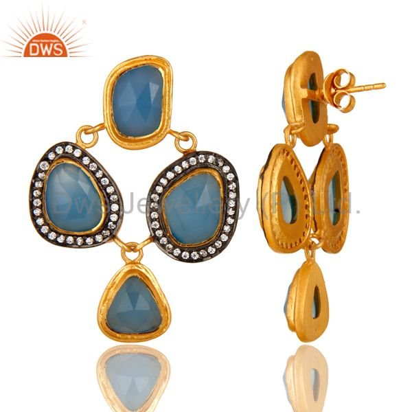Suppliers 18K Gold Plated Sterling Silver Blue Chalcedony And CZ Chandelier Earrings