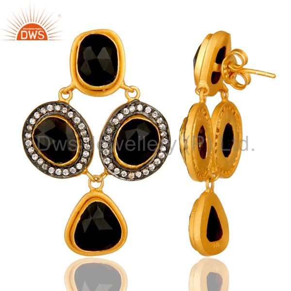 Suppliers 18K Yellow Gold Plated Sterling Silver Black Onyx And CZ Fashion Earrings