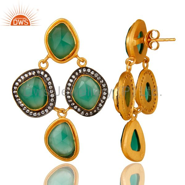 Suppliers 18K Yellow Gold Plated Sterling Silver Green Onyx And CZ Chandelier Earrings