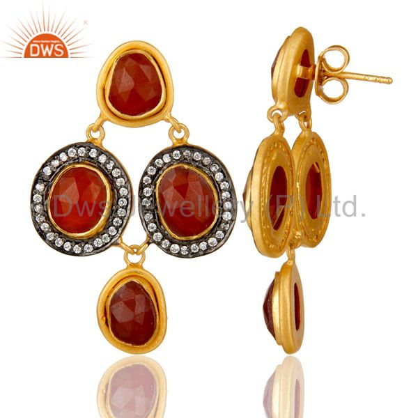 Suppliers 18K Yellow Gold Plated Sterling Silver Red Onyx And CZ Fashion Dangle Earrings