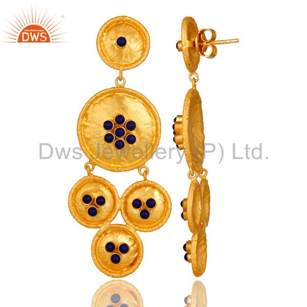 Suppliers 22K Yellow Gold Plated Sterling Silver Lapis Lazuli Hammered Disc Dangle Earring