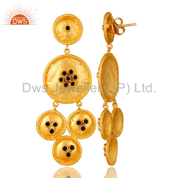Suppliers 22K Yellow Gold Plated Sterling Silver Blue Sapphire Disc Chandelier Earrings