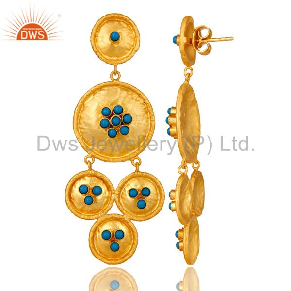 Suppliers 22K Matte Yellow Gold Plated Sterling Silver Turquoise Disc Chandelier Earrings