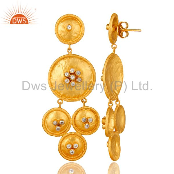 Suppliers 22K Matte Yellow Gold Plated Sterling Silver White Topaz Disc Chandelier Earring