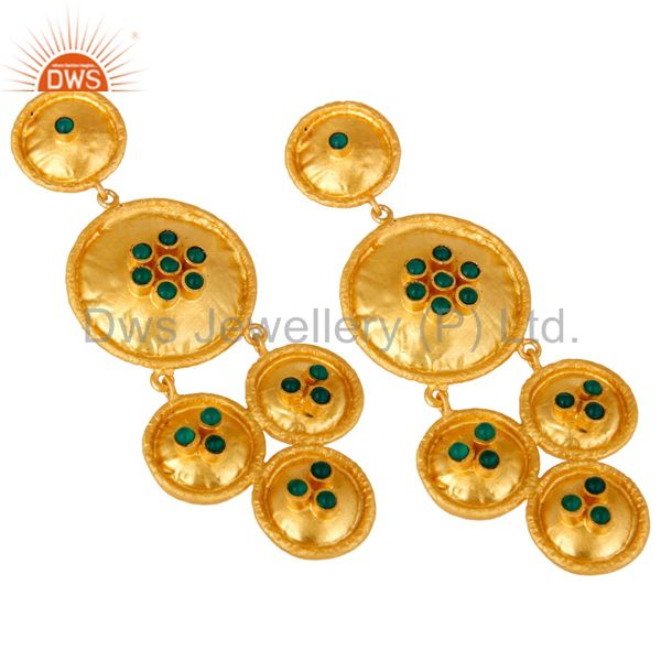 Suppliers 22K Matte Yellow Gold Plated Sterling Silver Green Onyx Disc Chandelier Earrings
