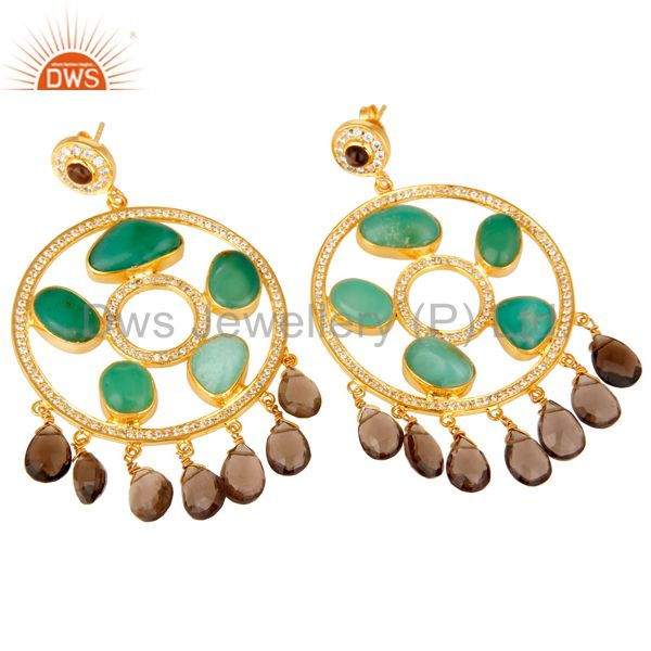 Suppliers 22K Gold Plated Sterling Silver Chrysoprase And Smoky Quartz Chandelier Earrings