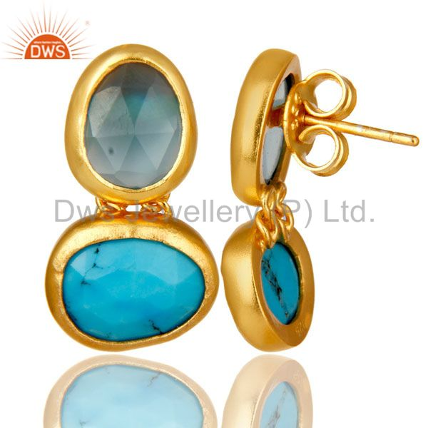 Suppliers 18K Yellow Gold Plated Sterling Silver Chalcedony And Turquoise Dangle Earrings