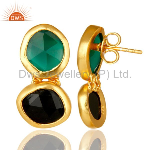 Suppliers 18K Yellow Gold Plated Sterling Silver Green Onyx And Black Onyx Dangle Earrings