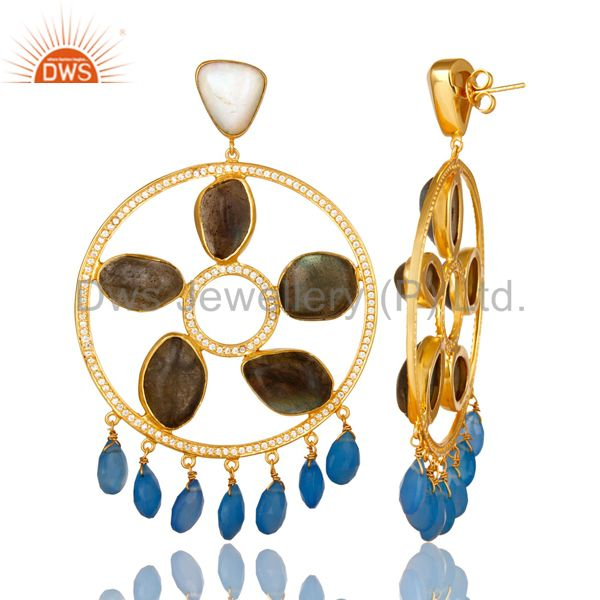 Suppliers Gold Plated 925 Silver Labradorite And Chalcedony Chandelier Earrings
